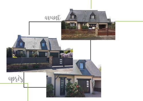 Rénovation complète : portail, clôture, portes de garage, fenêtres et porte d''entrée en aluminium